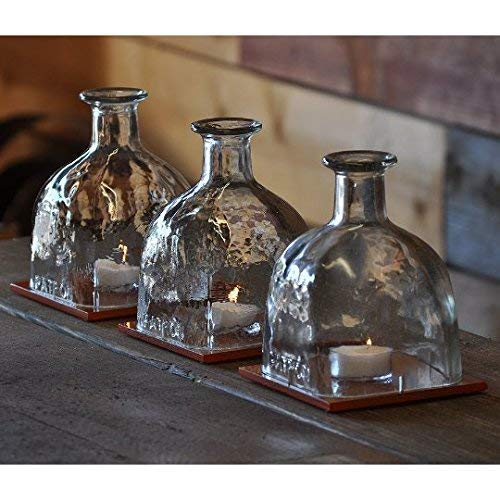 Patron Bottle Hurricane Lamp Table Centerpieces With Hand Painted Glass Tiles - Wedding Table Centerpiece - Farmhouse Decor - Rustic Decor