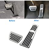 Jaronx For BMW No Drill Gas Brake Pedal, Anti-slip Aluminium Alloy AT Accelerator Brake Pedal Cover (Fits: BMW 3 5 6 7 X 1 X3 X 4 X5 X 6 Z4 Series) (Gas+Brake Pedals)