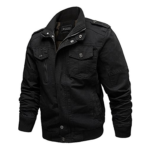 Helisopus Men's Vintage Stand Collar Casual Cotton Solid Military Jackets Black 3XL (US L)