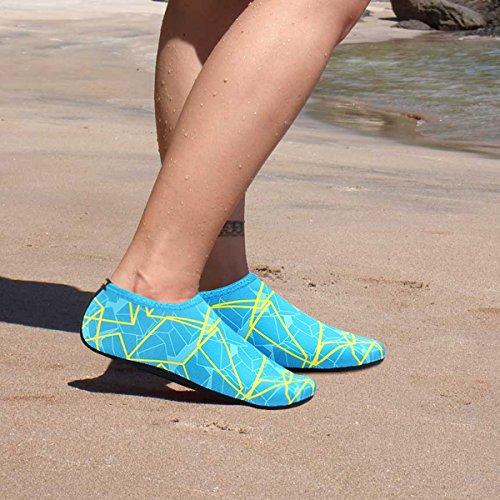 Justonestyle Nbera Barefoot Flexibele Waterhuid Schoenen Aqua Sokken Voor Strand Zwemmen Surf Yoga Oefening Geel Blauw