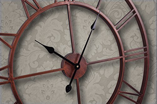Utopia Alley Roman Round Clock, Distressed Finish, Metal, Oil Rubbed Bronze by Utopia Alley
