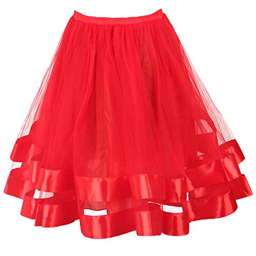 Topdress Women's 1950s Tutu Short Petticoat Skirt Crinoline Underskirt Slip Red (Crinoline Ribbon)