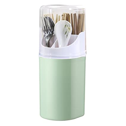 Liitrton Detachable Flatware Caddy Holder 4 Compartment Plastic Kitchen  Utensil Holder with Cover for Cutlery Set (Green)