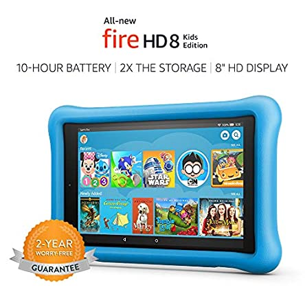 All-New Fire HD 8 Kids Edition Tablet, 8″ HD Display, 32 GB, Blue Kid-Proof Case