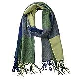 Woogwin Womens Big Grid Winter Warm Lattice Large Scarf Stylish Plaid Blanket Long Shawl Wrap (Blue-Green)
