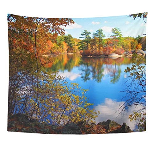 Emvency Wall Tapestry Blue England Forest Lake in Autumn Colorful Massachusetts Fall Summer Indian Foliage Tree Island Decor Wall Hanging Picnic Bedsheet Blanket 60x50 Inches