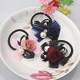 Pyrsun(TM) New Arrival Girl Striped Bowknot Flower Headbands Gum for Hair Pearl Hair Accessories Rubber Ropes Women Elastic Hair Bands