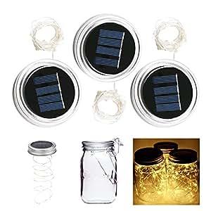 ALED LIGHT 3 Pack 20 LED 2 Meters Solar Mason Jar Light Jar Cover Shape Silver Wire Fairy Lid Light For Glass Mason Jar DIY / Hanging Lantern Light / Wedding / Christmas / Thanksgiving / Gift(Warm White)