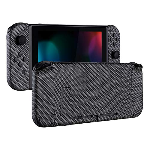 eXtremeRate Soft Touch Grip Back Plate for Nintendo Switch Console, NS Joycon Handheld Controller Housing with Full Set Buttons, DIY Replacement Shell for Nintendo Switch - Black Silver Carbon Fiber Design Case Carbon Fiber Faceplate
