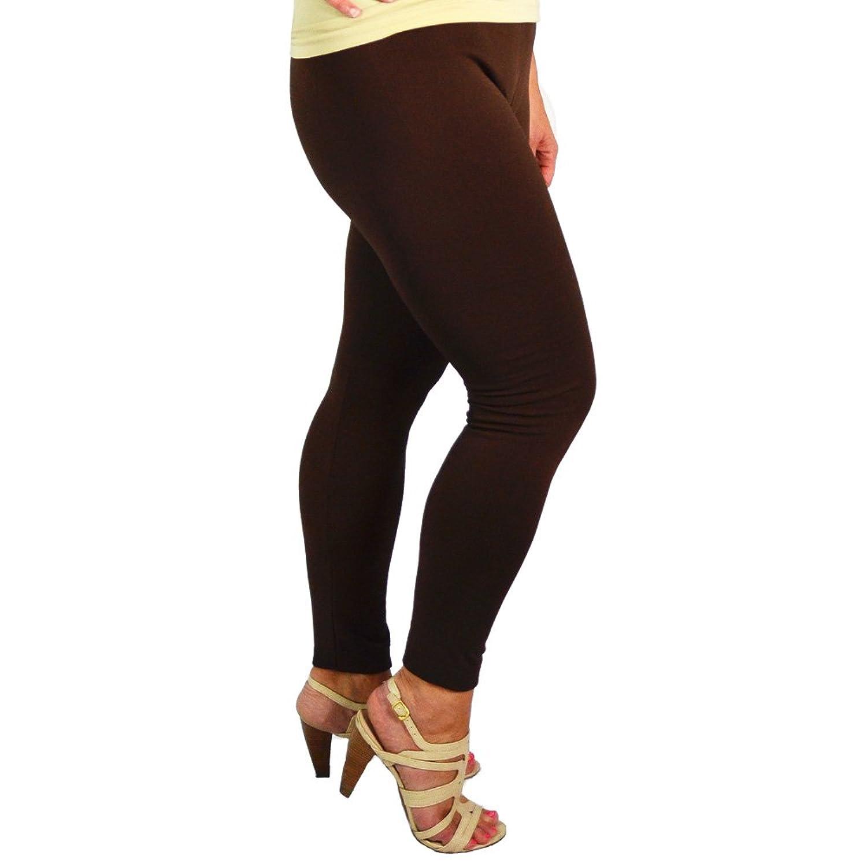 Aura Via Plus Size Womens Fleece Leggings (COFFEE BROWN)