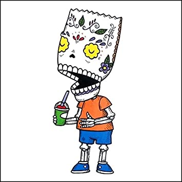 Bart simpson inspired calavera die cut clear vinyl sticker sugar skull day of the dead
