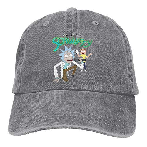 Amerltees Morty Its Time to Get Schwifty Rick Unisex Vintage Washed Distressed Baseball-Cap Twill Adjustable Dad-Hat Gray (Rack Vintage Rick)