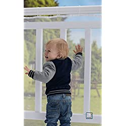 Roving Cove Safe Rail - 10ft L x 3ft H - OUTDOOR Balcony & Stairway Deck Railing Safety Net - PEARL color - Banister Stair Net - Child Safety; Pet Safety; Toy Safety; Stairs Protector