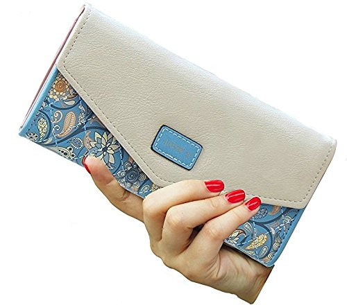 Floral Reply Card (Womens Envelope Leather Wallet Card Holder Clutch Long Purse)
