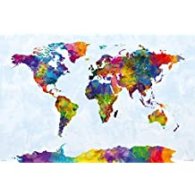 """Map Of The World - Watercolor Art Poster / Print (World Map Including Antarctica) (By Michael Tompsett) (Size: 36"""" x 24"""")"""