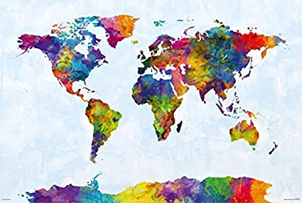 POSTER STOP ONLINE Map of The World - Watercolor Art Poster/Print (World  Map Including Antarctica) (by Michael Tompsett) (Size: 36\