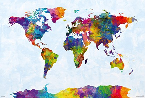Map Of The World - Watercolor Art Poster / Print