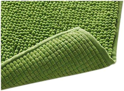 Klickpick Designs Thick Plush Bath Mats Soft Bath Mat Chenille Washable Bath Rugs Microfiber Shaggy Non Slip Bathroom Rug Anti Slip Absorbent Bath Rug Carpet with Non Skid Backing (20 x 32, Green)