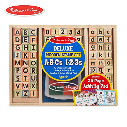 Melissa & Doug Deluxe Wooden Stamp Set - ABCs 123s (Arts & Crafts, 4-Color Inkpad, 70+ Pieces) ()
