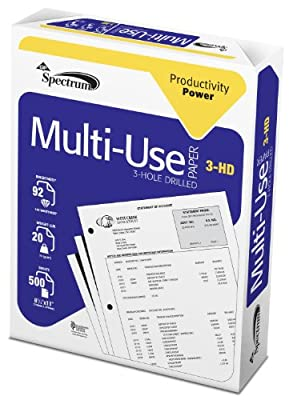 GP Spectrum MultiUse Paper, 8.5 x 11 Inches Letter Size, 3 Hole Drilled, 92 Bright White, 20 Lb, Ream of 500 Sheets (999813R)