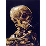 VAN GOGH SKULL WITH A BURNING CIGARETTE OLD ART PAINTING PRINT 12x16 inch 2922OM
