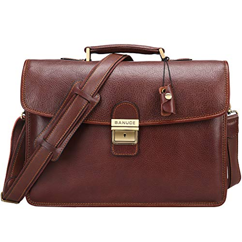 (Banuce Vintage Full Grain Leather Briefcase for Men with Lock 14