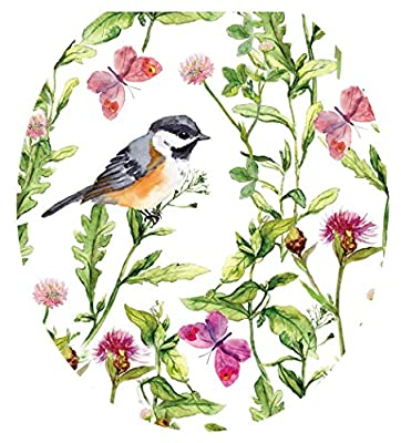 Toilet Tattoos, Toilet Seat Cover Decal, Chickadee in Garden, Size Round/standard