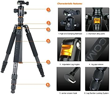 Max Height 1550mm With a quick- released ballhead suitable for all cameras COMAN TM256C Tripod Folded 420mm CM-0 Ballhead SET Max Load 10KG light weight 1.45KG- Professional Carbon Fiber Tripod replaces Vanguard Alta Pro 283CT