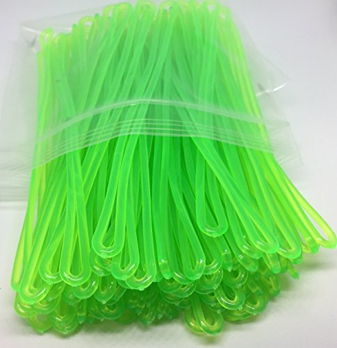 858efd1976bd Neon Green Plastic Luggage Tag Loops, 6 inch, 100/pk (aka Worm Loop ...
