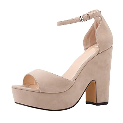 607c3bd4964425 WanYang Femme Chaussure A Talons Hauts Talons Compensés Bout Ouvert  Sandales Compensées