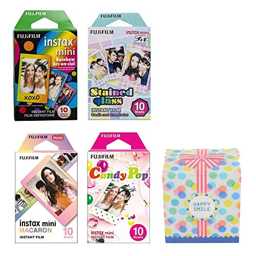 Fujifilm Instax Mini Instant 4 Film Value Pack, Rainbow, Stained Glass, Candy Pop, Macaron, 40 Shots Total for Fuji Camera 9 8 7s 70 Original Box]()