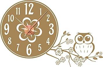 Tattoo Reloj de pared con reloj de pared Decoración para Habitación de los Niños Búho rama Flores Flores, madera, 081 marrón claro, reloj cobre: Amazon.es: ...