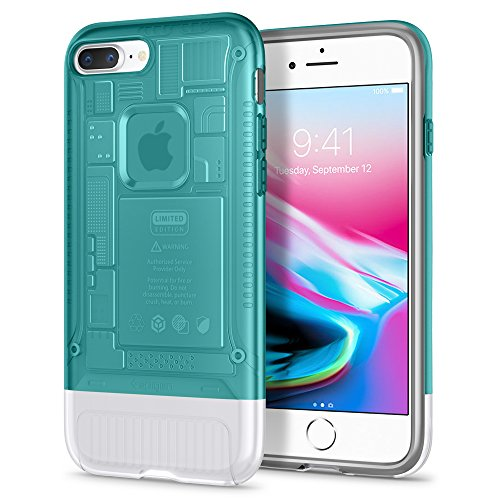 Spigen Classic C1 [10th Anniversary Limited Edition] iPhone 8 Plus Case with Air Cushion Technology for Apple iPhone 8 Plus (2017) - Bondi Blue