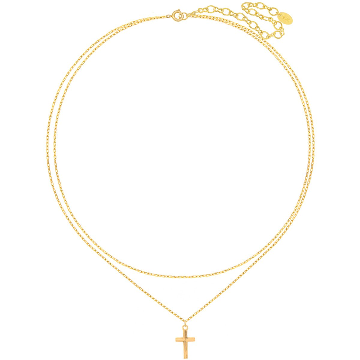 12 Cross Size 9x15 mm 13 with 4 extender Choker Necklace 18K Gold Plated Cross Double Choker.Length