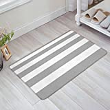 "Indoor Doormat Stylish Welcome Mat Grey and White Stripe Entrance Shoe Scrap Washable Apartment Office Floor Mats Front Doormats Non-Slip Bedroom Carpet Home Kitchen Rug 23.6""x15.7"""