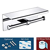 Waydeli Double Toilet Paper Holder - Double Toilet Paper Roll Holder with Shelf, Adhesive No Drilling or Wall Mounted, Stainless Steel Polished Chrome