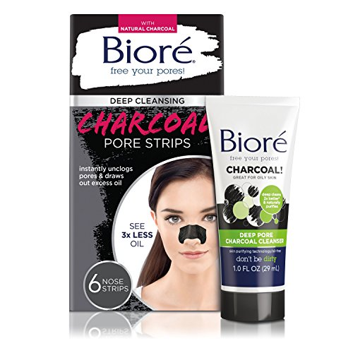 Bioré Deep Cleansing Charcoal Pore Strips (6 Count) + Mini Bioré Deep Pore Charcoal Cleanser for Oily Skin, 1 Ounce (Out Strip)