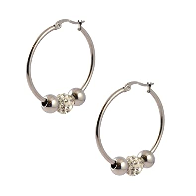 a031cfb5f Amazon.com: Victoria Pave 3 Bead Hoop Earrings, 316L Stainless Steel ...
