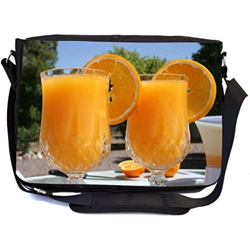 Rikki Knight Fresh Squeezed Orange Juice on a Sunny Day Design Multifunctional Messenger Bag - School Bag - Laptop Bag - with padded insert for School or Work - Includes Matching Compact Mirror