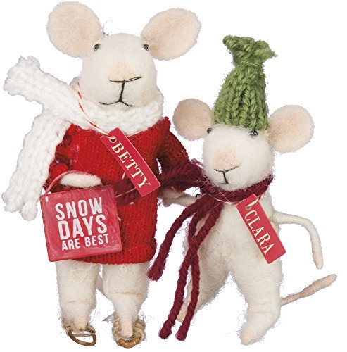 Snow Days are Best Box Sign Mice - Betty and Clara 4