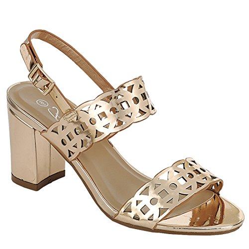 Per Sempre Ig05 Da Donna Ritaglio Cinturino Alla Caviglia Con Tacco A Spillo Sandali Con Tacco In Oro Rosa