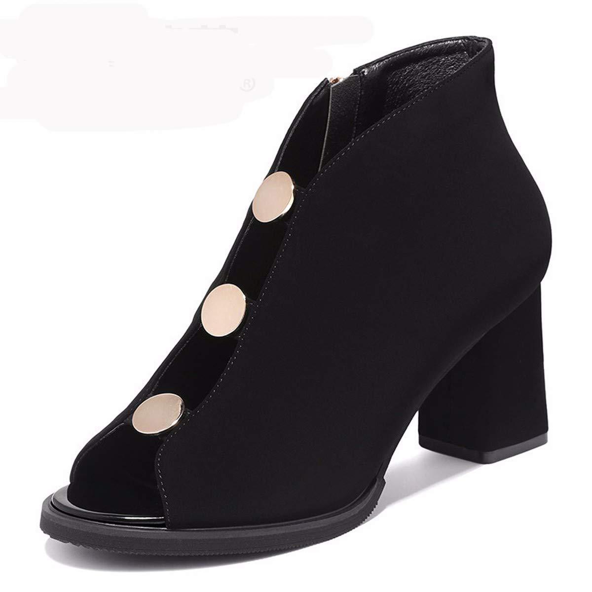 LBTSQ Damenschuhe Fishmouth Schuhe Heel 7 cm Im Frühling Und Sommer Dicke Sohle Süß Atmungsaktiv Abzug Sandalen