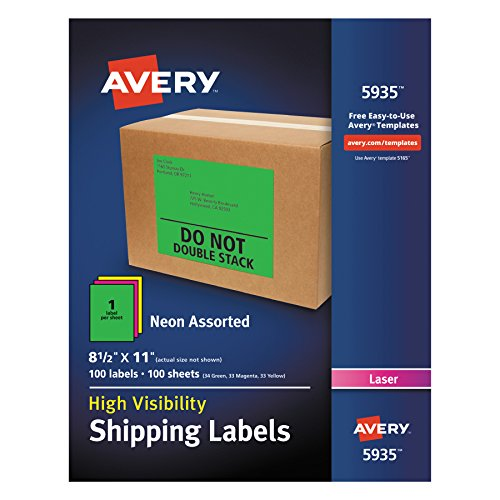 Avery High-Visibility Neon Shipping Labels - Permanent Adhes