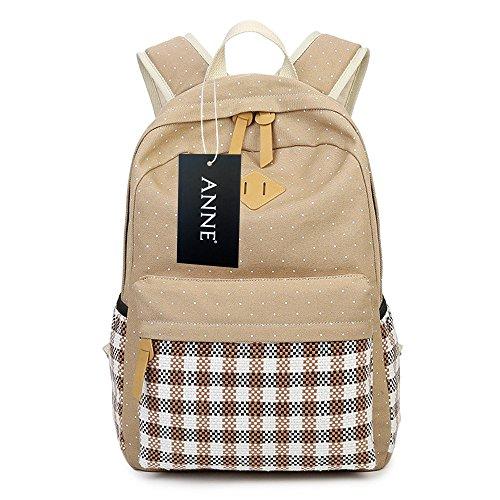 ANNE - Bolso mochila  de Lona para mujer marrón caqui talla única