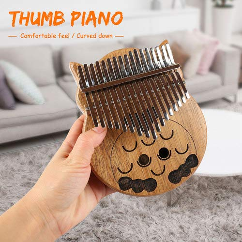 Owl Kalimba Thumb Piano 17 Keys Thumb Instrument with Number Sticker, Tuning Hammer, Protective Box and Cleanning Cloth by Caiyuangg (Image #5)