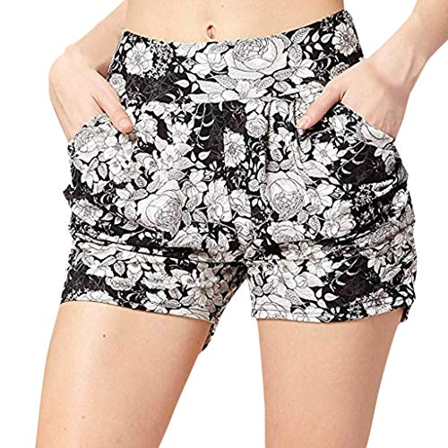 - Womens Casual Wide Leg Silky Satin Summer Hot Shorts Flower Print Elastic Waist Lightweight Breathable Beach Short Pants Stretch Loose Lounge Bottoms with Pockets