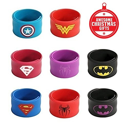Superhero Slap Bracelets for Kids Boys & Girls Birthday Party Supplies Favors Wristband Accessories Wrist Strap (8 pack) - All Different Spiderman Costumes