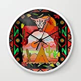 Society6 Southwest Sunset Wall Clock White Frame, Black Hands