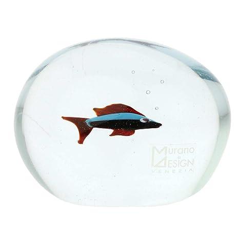 glassofvenice Acuario con peces de cristal de Murano