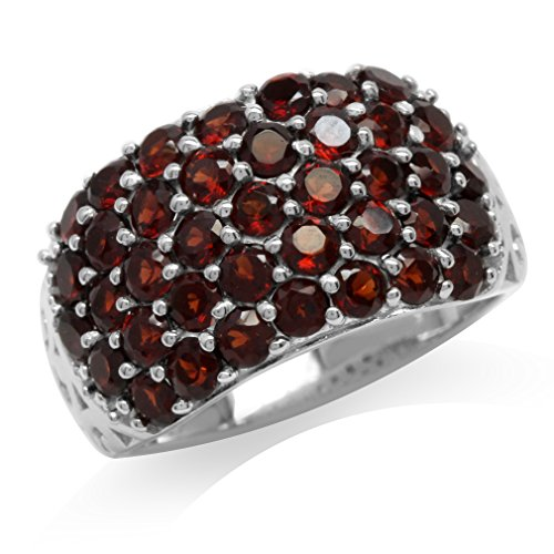 3.12ct. Natural Garnet 925 Sterling Silver Vintage Style Cluster Ring Size 8 (Cluster 925 Sterling Silver Ring)